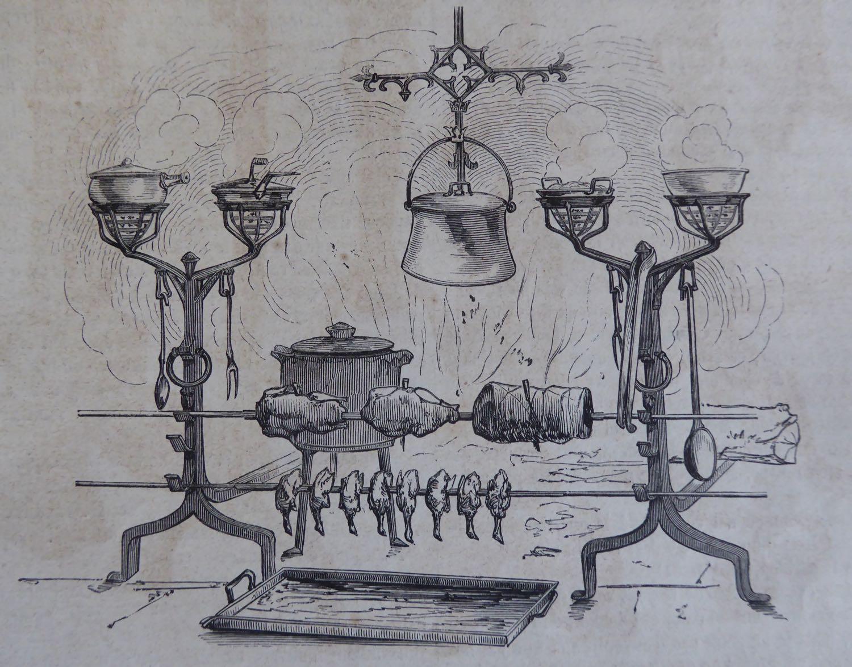 cucinare nel caminetto con gli accessori per camino antichi